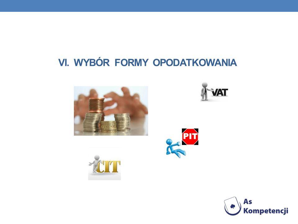 VI. Wybór formy opodatkowania