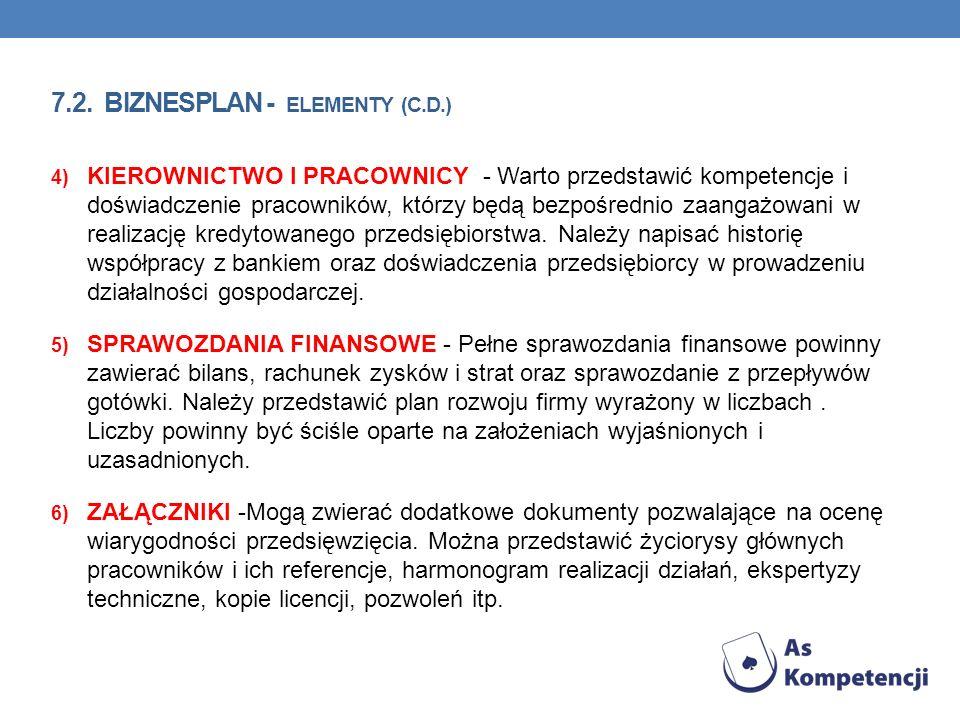 7.2. Biznesplan - elementy (c.d.)