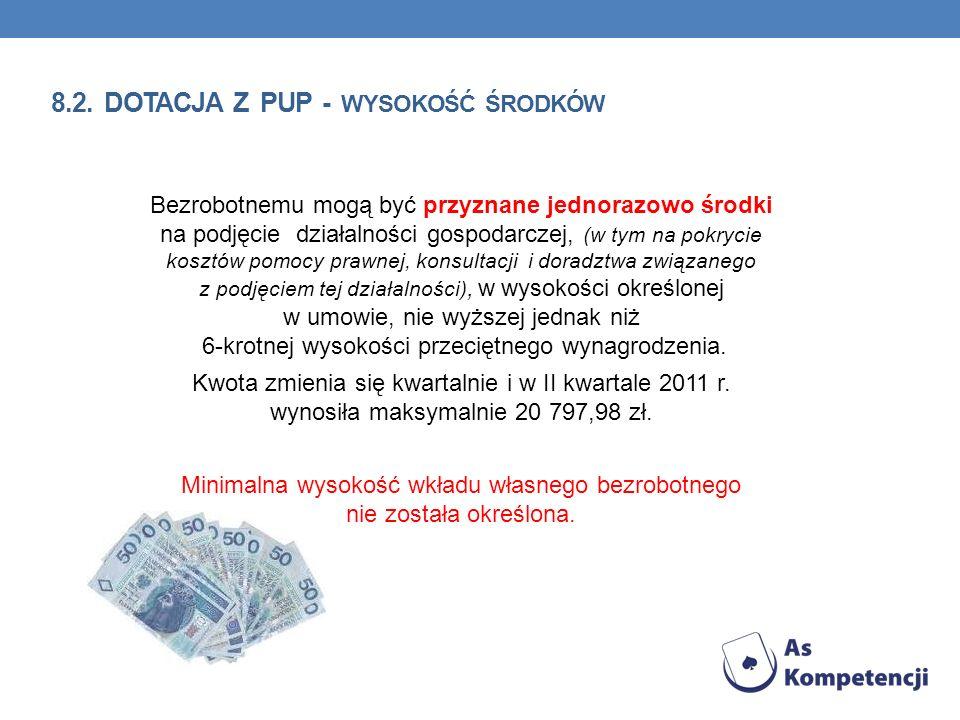 8.2. dotacja z PUP - wysokość środków