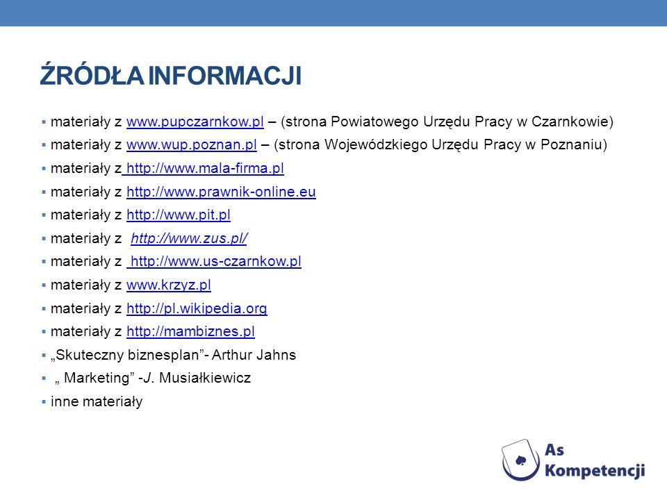 ŹRÓDŁA INFORMACJI materiały z www.pupczarnkow.pl – (strona Powiatowego Urzędu Pracy w Czarnkowie)