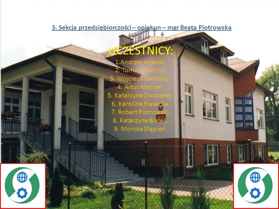 3. Sekcja przedsiębiorczości – opiekun – mgr Beata Piotrowska
