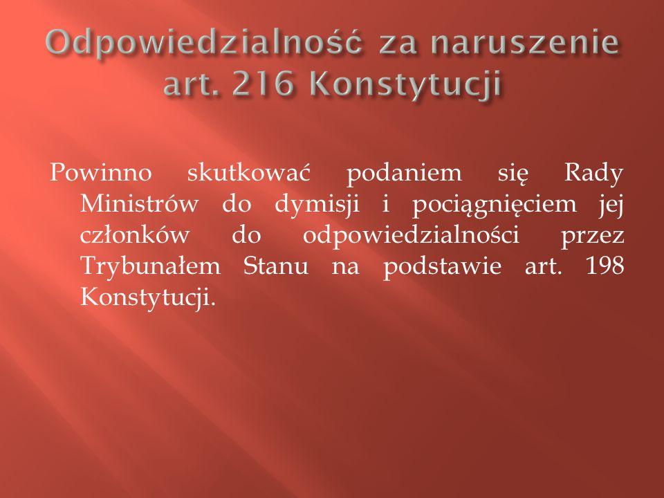 Odpowiedzialność za naruszenie art. 216 Konstytucji