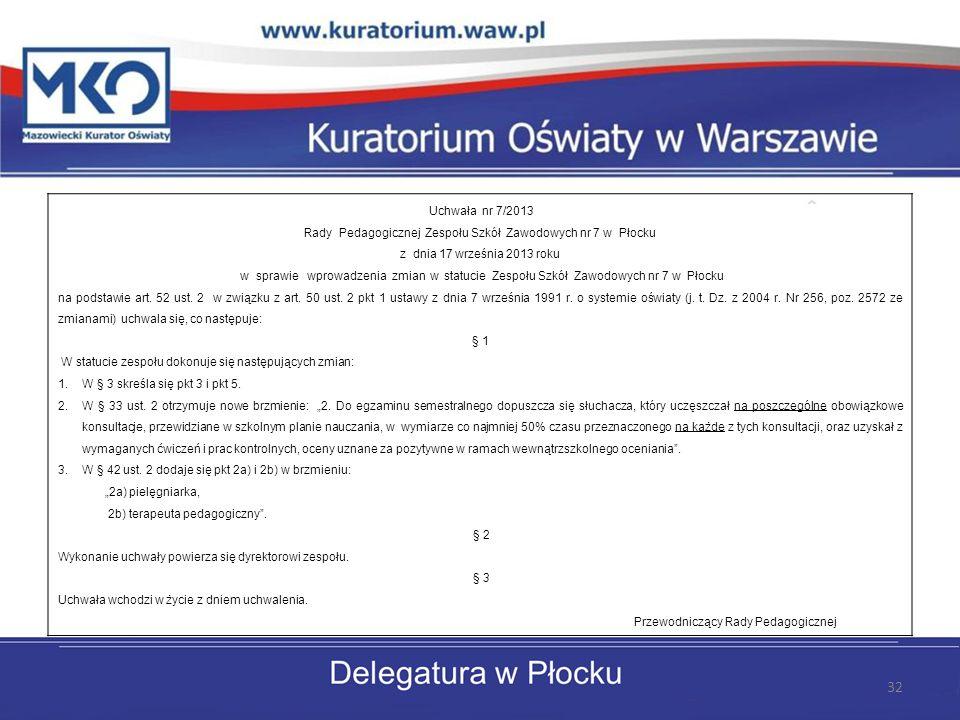 Uchwała nr 7/2013 Rady Pedagogicznej Zespołu Szkół Zawodowych nr 7 w Płocku