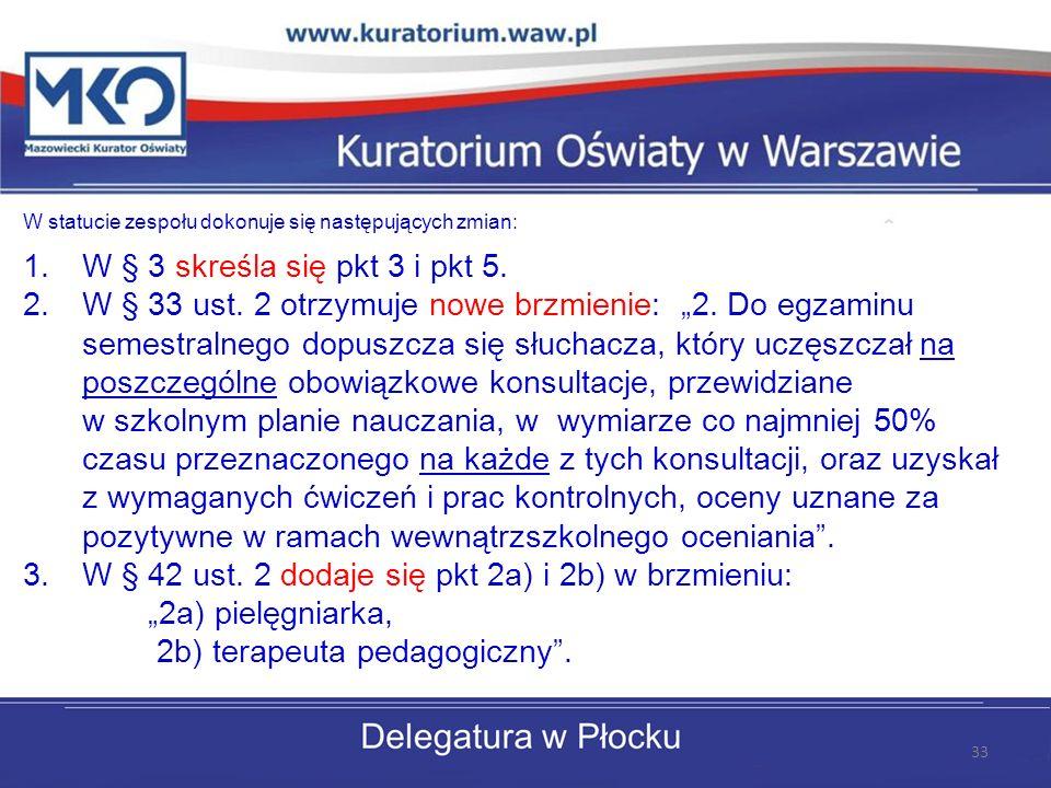 """W § 42 ust. 2 dodaje się pkt 2a) i 2b) w brzmieniu: """"2a) pielęgniarka,"""