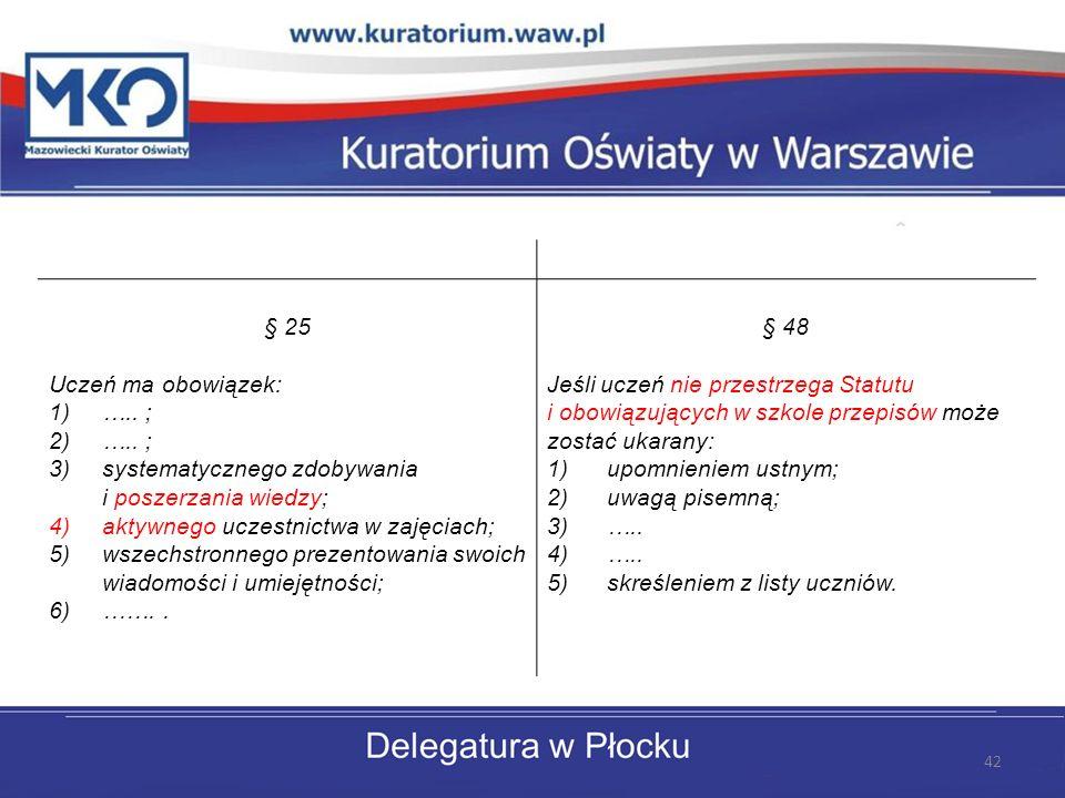 § 25 Uczeń ma obowiązek: ….. ; systematycznego zdobywania i poszerzania wiedzy; aktywnego uczestnictwa w zajęciach;