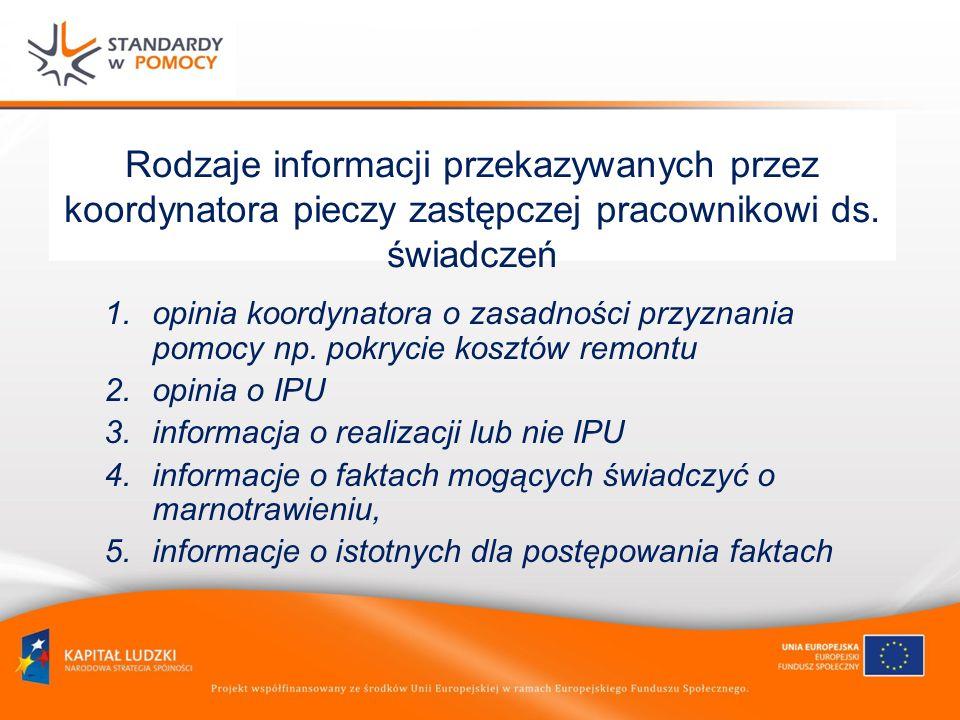 Rodzaje informacji przekazywanych przez koordynatora pieczy zastępczej pracownikowi ds. świadczeń