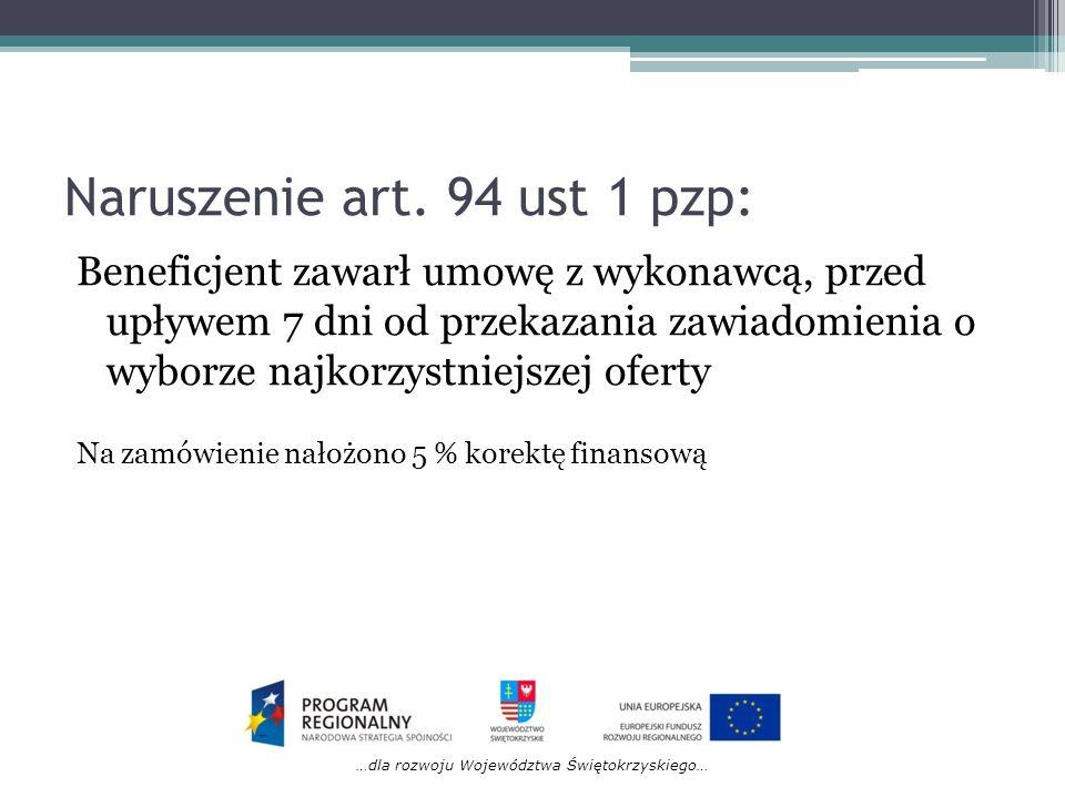 Naruszenie art. 94 ust 1 pzp: