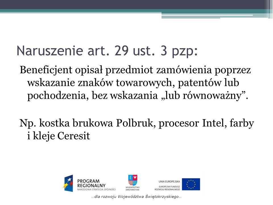 Naruszenie art. 29 ust. 3 pzp: