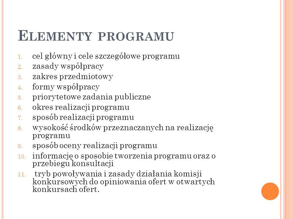 Elementy programu cel główny i cele szczegółowe programu