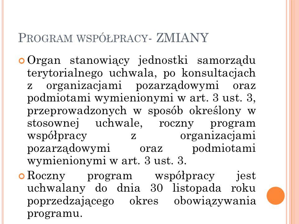 Program współpracy- ZMIANY