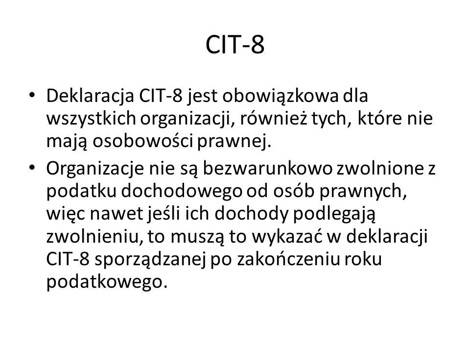 CIT-8Deklaracja CIT-8 jest obowiązkowa dla wszystkich organizacji, również tych, które nie mają osobowości prawnej.
