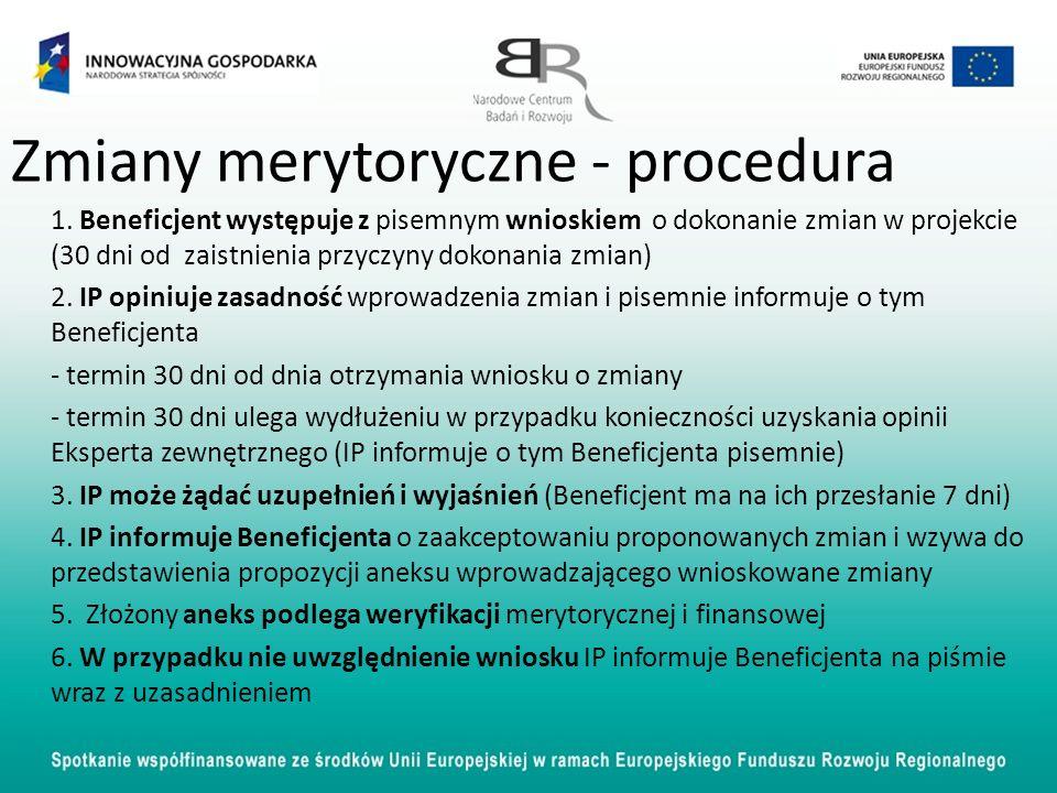 Zmiany merytoryczne - procedura