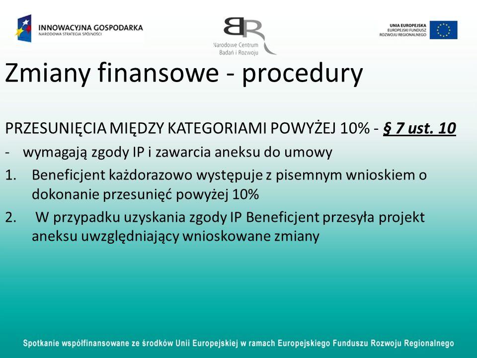 Zmiany finansowe - procedury