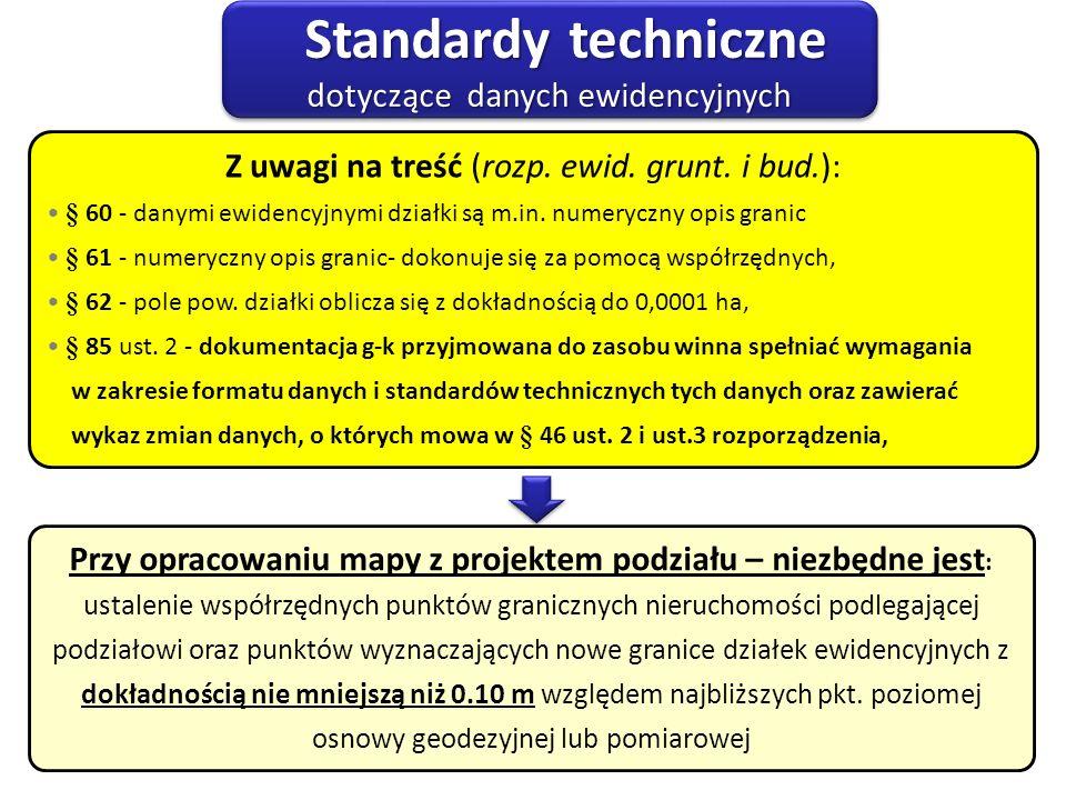 Standardy techniczne dotyczące danych ewidencyjnych