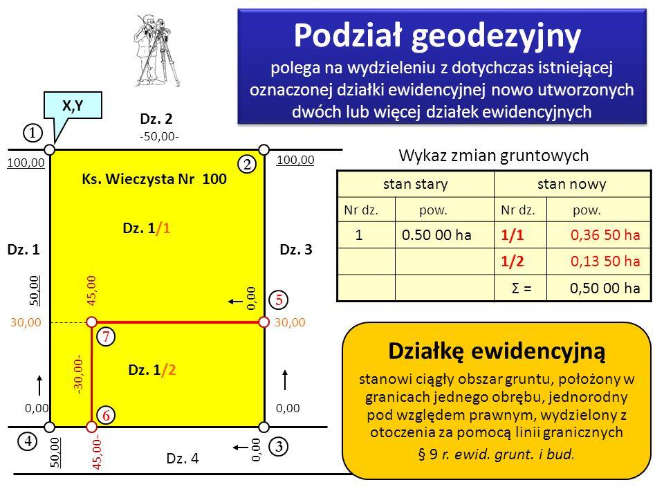 Podział geodezyjny Działkę ewidencyjną