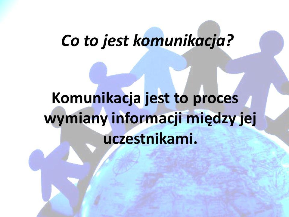 Komunikacja jest to proces wymiany informacji między jej uczestnikami.