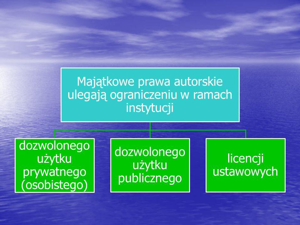 Majątkowe prawa autorskie ulegają ograniczeniu w ramach instytucji