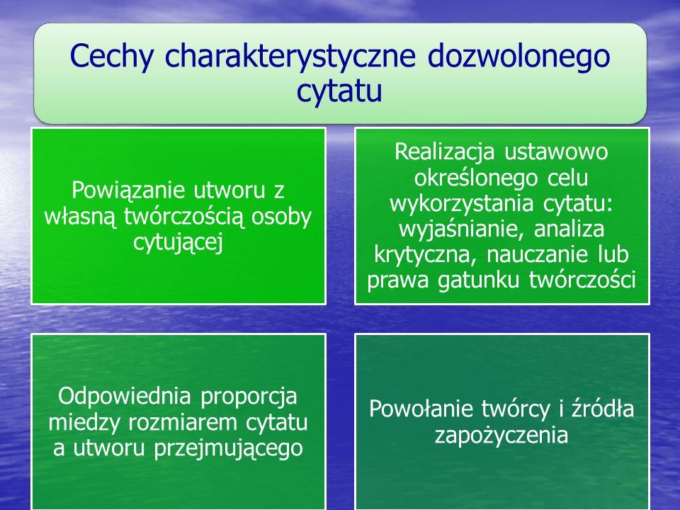 Cechy charakterystyczne dozwolonego cytatu