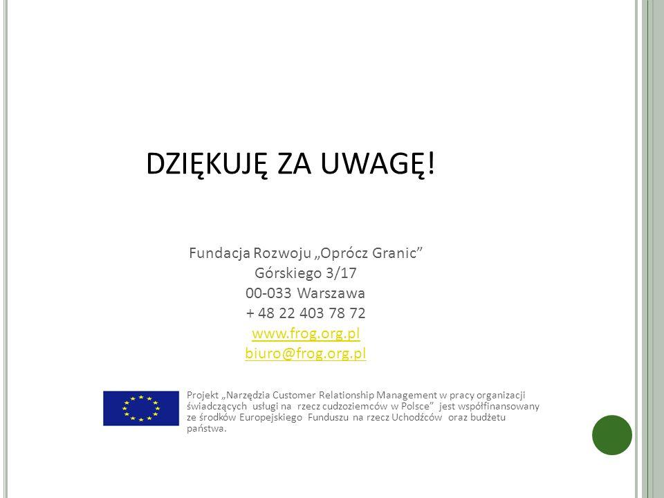 """DZIĘKUJĘ ZA UWAGĘ! Fundacja Rozwoju """"Oprócz Granic Górskiego 3/17 00-033 Warszawa + 48 22 403 78 72 www.frog.org.pl."""