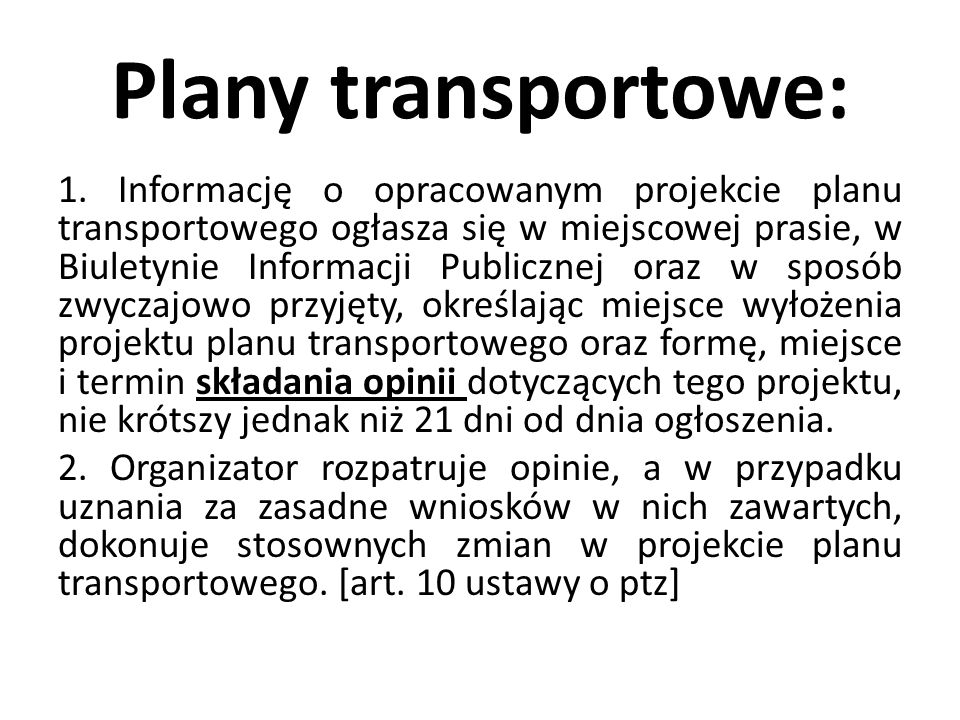 Plany transportowe: