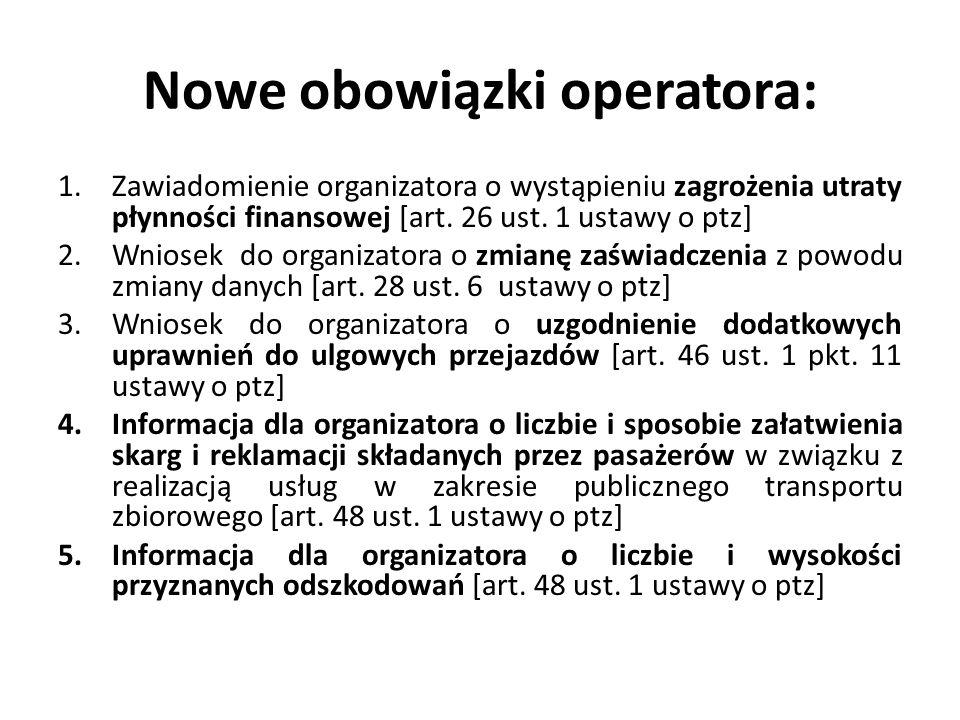 Nowe obowiązki operatora: