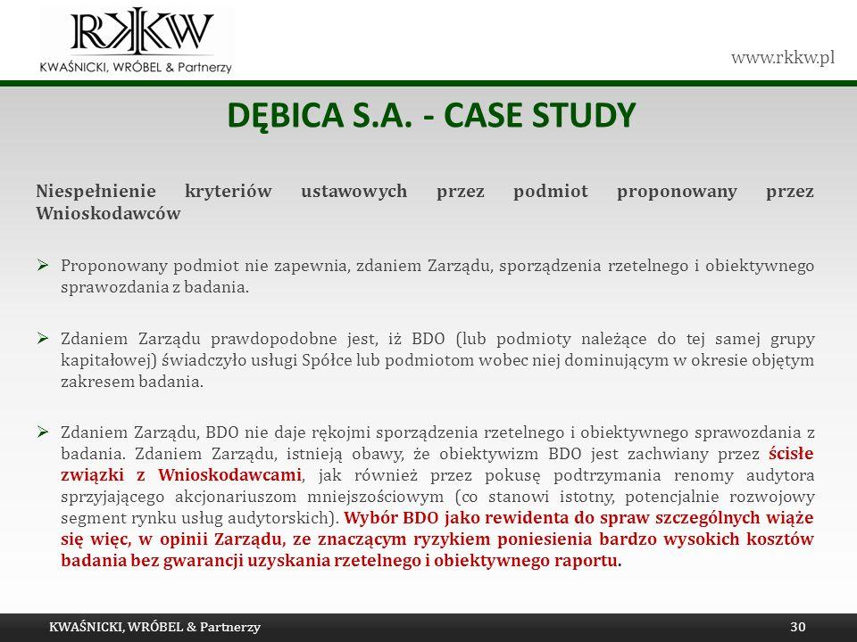 Dębica s.a. - Case study Niespełnienie kryteriów ustawowych przez podmiot proponowany przez Wnioskodawców.