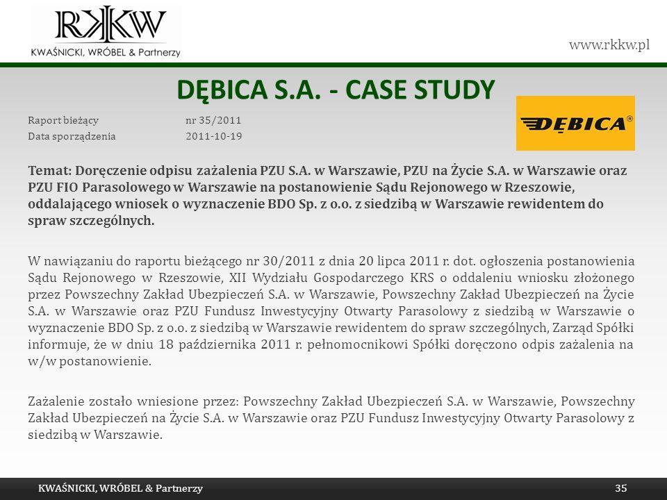 Tytuł prezentacji Dębica s.a. - Case study. Raport bieżący nr 35/2011. Data sporządzenia 2011-10-19.