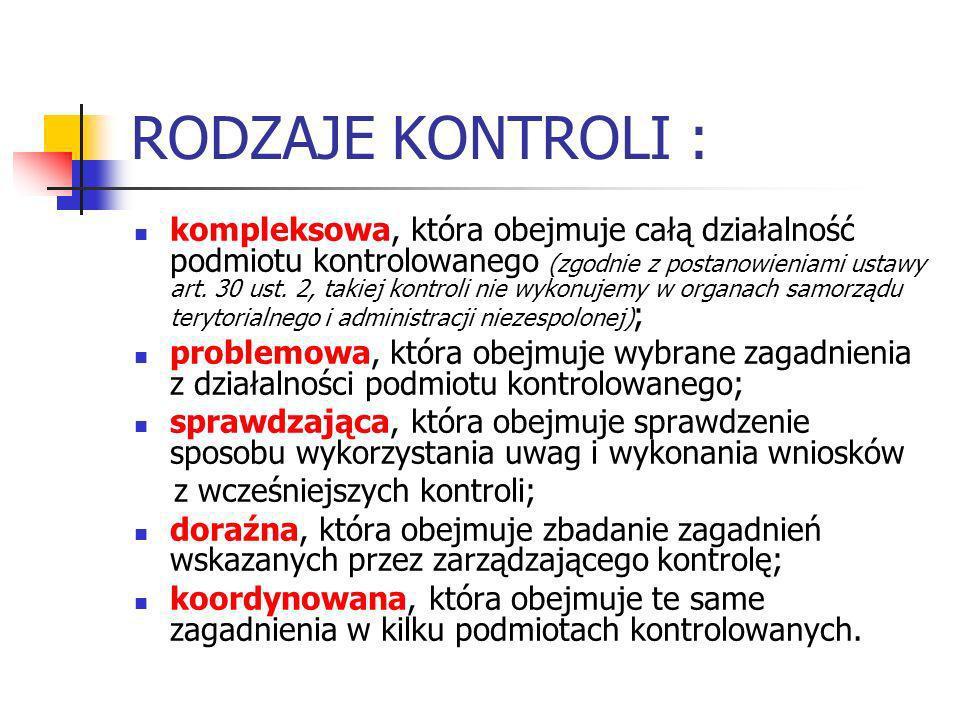 RODZAJE KONTROLI :