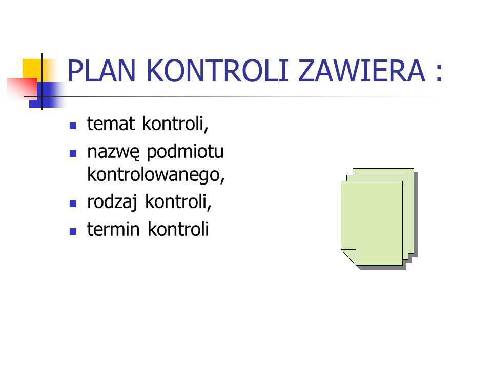 PLAN KONTROLI ZAWIERA :