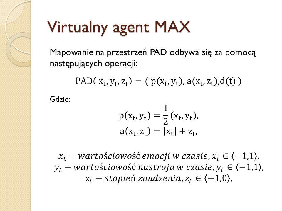 Virtualny agent MAX Mapowanie na przestrzeń PAD odbywa się za pomocą następujących operacji: