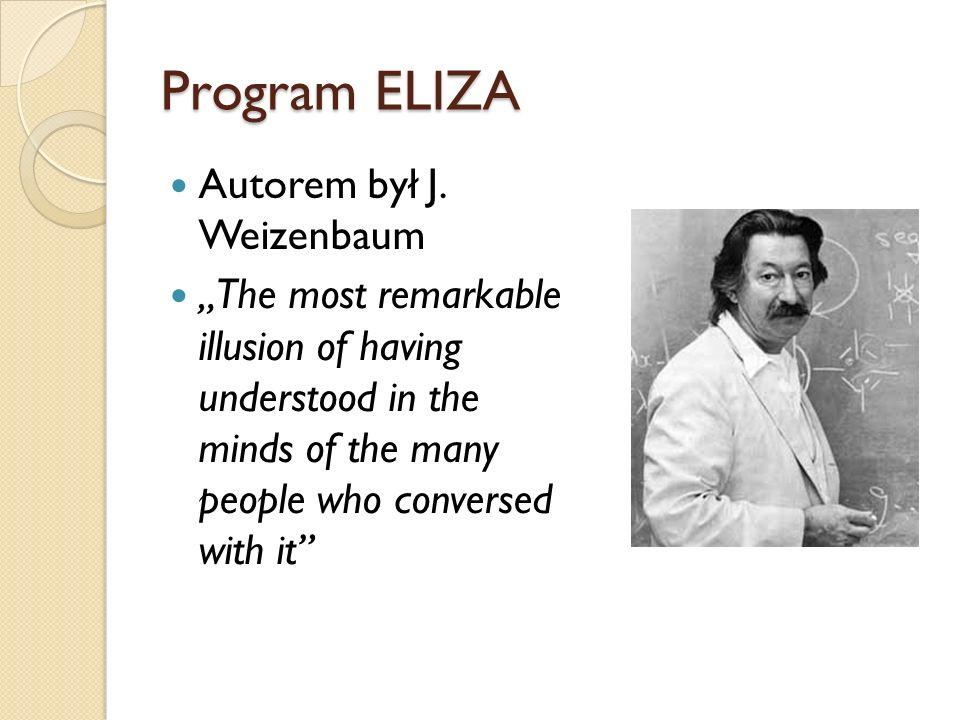 Program ELIZA Autorem był J. Weizenbaum