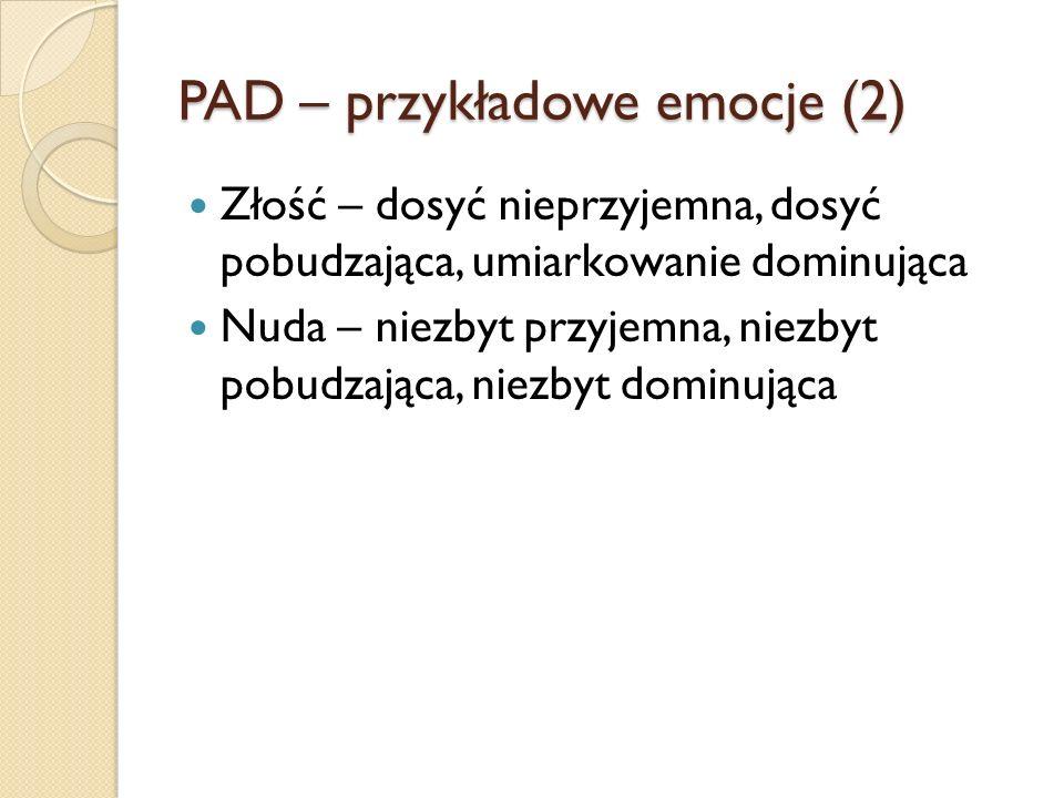 PAD – przykładowe emocje (2)