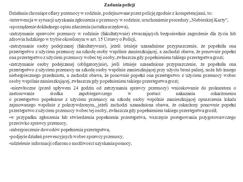 Działania chroniące ofiary przemocy w rodzinie, podejmowane przez policję zgodnie z kompetencjami, to: