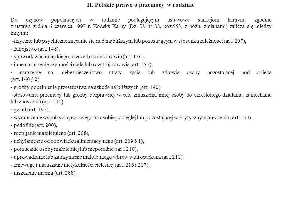 II. Polskie prawo o przemocy w rodzinie