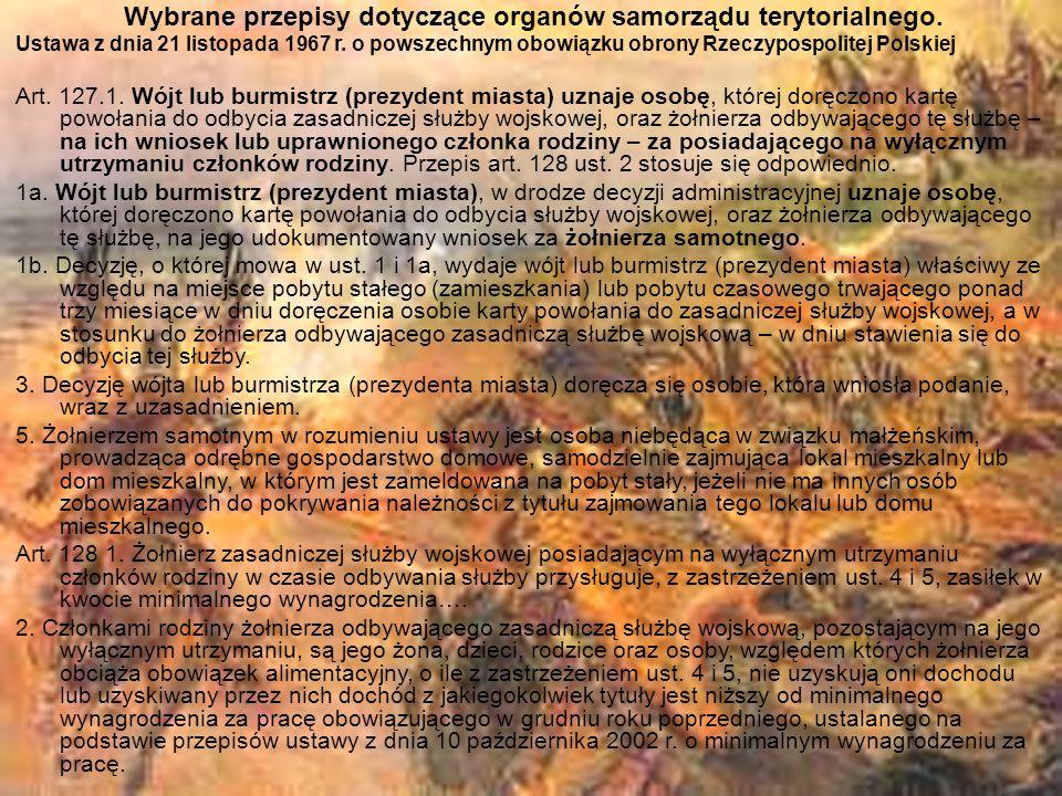Wybrane przepisy dotyczące organów samorządu terytorialnego.
