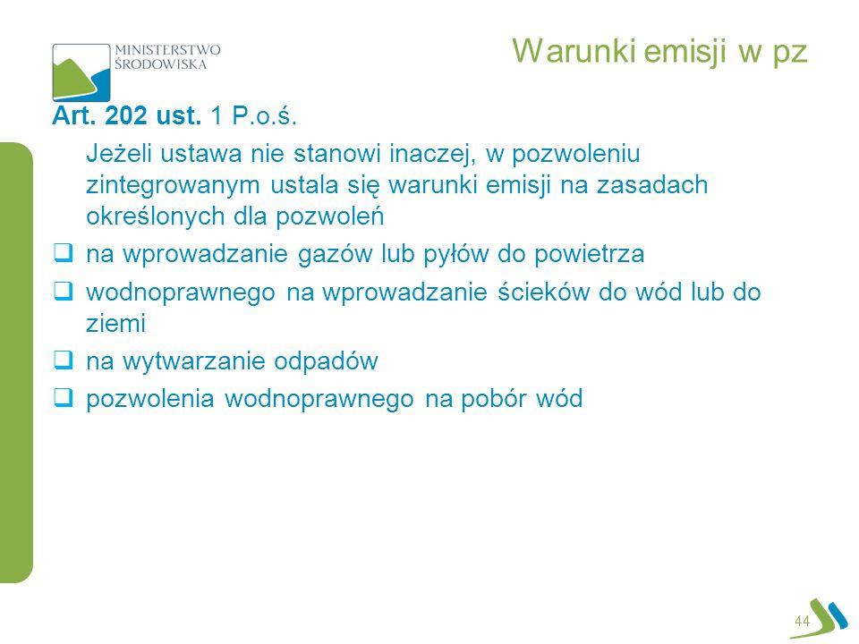 Warunki emisji w pz Art. 202 ust. 1 P.o.ś.