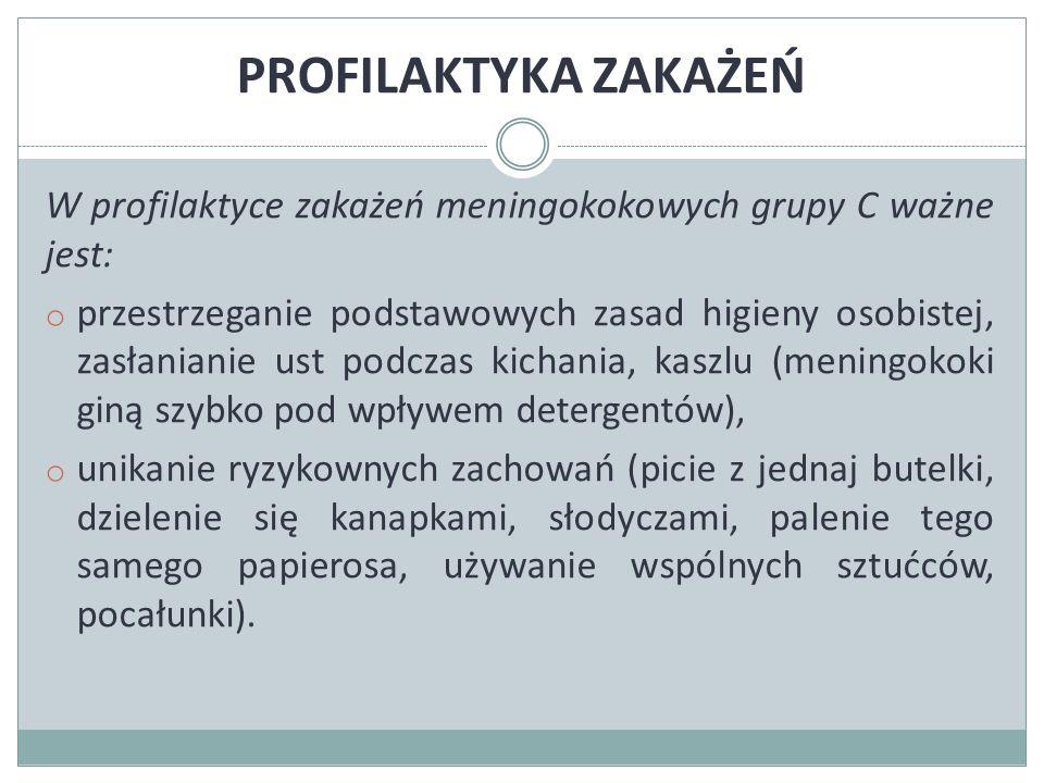 PROFILAKTYKA ZAKAŻEŃ W profilaktyce zakażeń meningokokowych grupy C ważne jest: