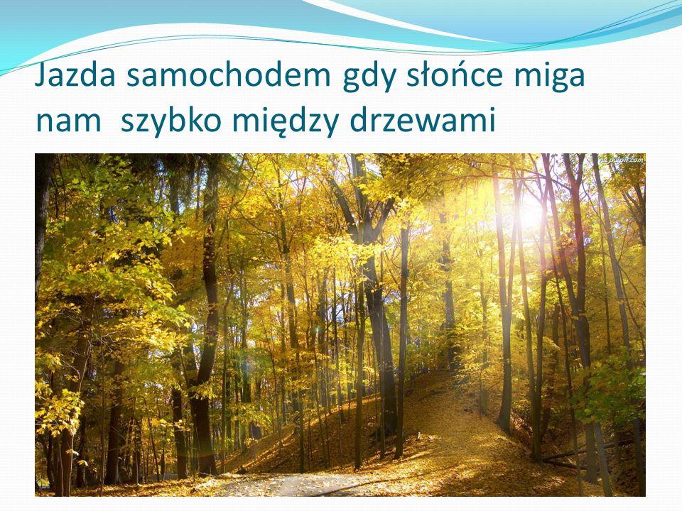Jazda samochodem gdy słońce miga nam szybko między drzewami
