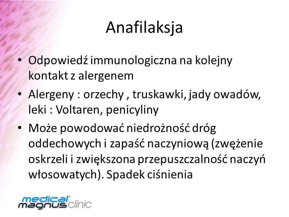 Anafilaksja Odpowiedź immunologiczna na kolejny kontakt z alergenem