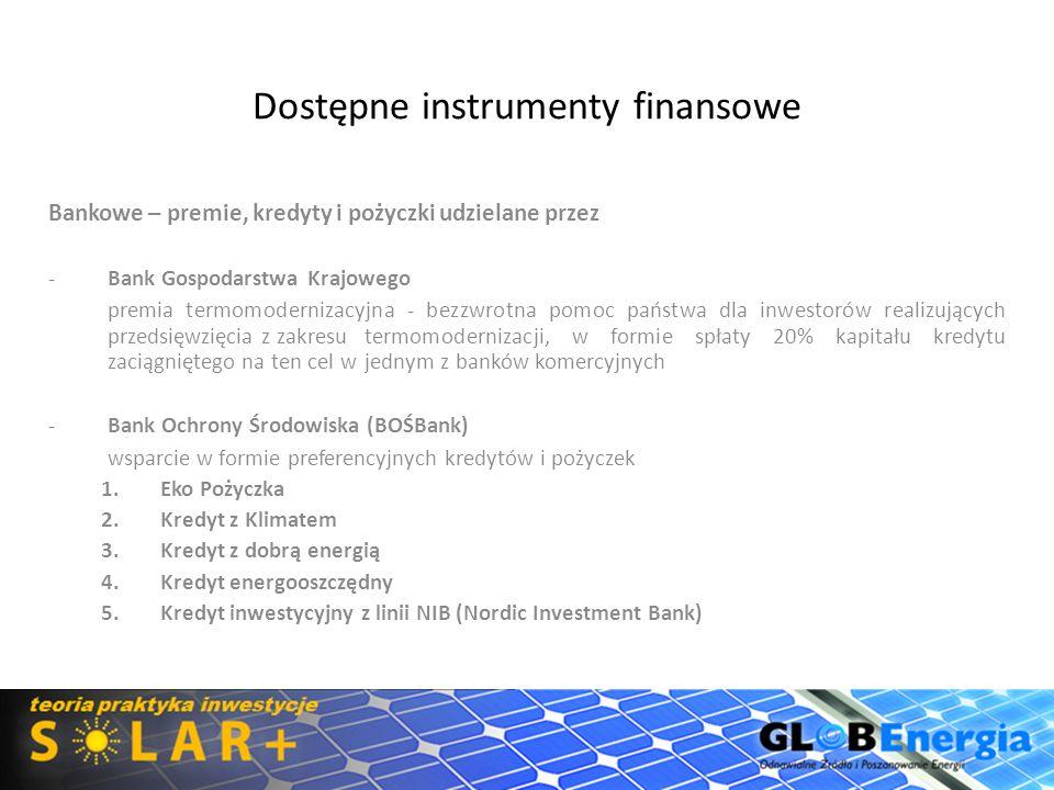 Dostępne instrumenty finansowe