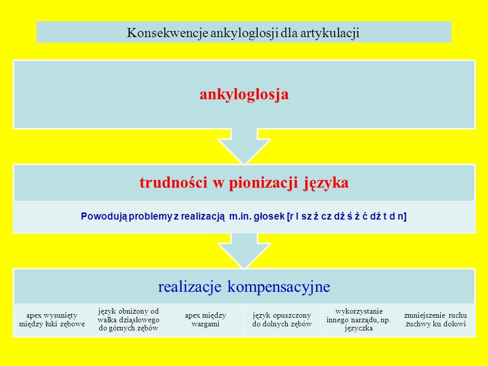 trudności w pionizacji języka