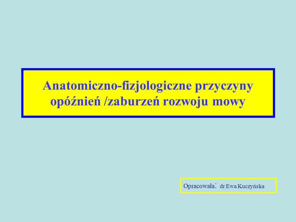 Anatomiczno-fizjologiczne przyczyny opóźnień /zaburzeń rozwoju mowy