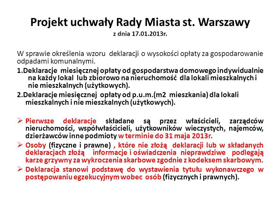 Projekt uchwały Rady Miasta st. Warszawy z dnia 17.01.2013r.