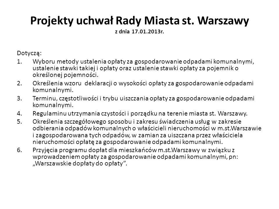 Projekty uchwał Rady Miasta st. Warszawy z dnia 17.01.2013r.