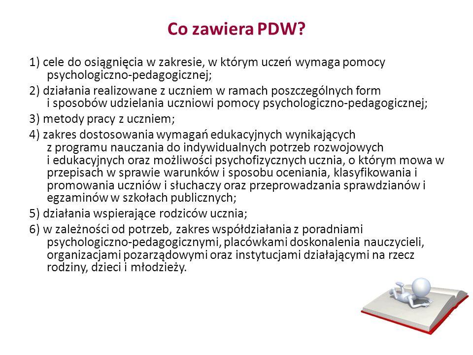Co zawiera PDW 1) cele do osiągnięcia w zakresie, w którym uczeń wymaga pomocy psychologiczno-pedagogicznej;