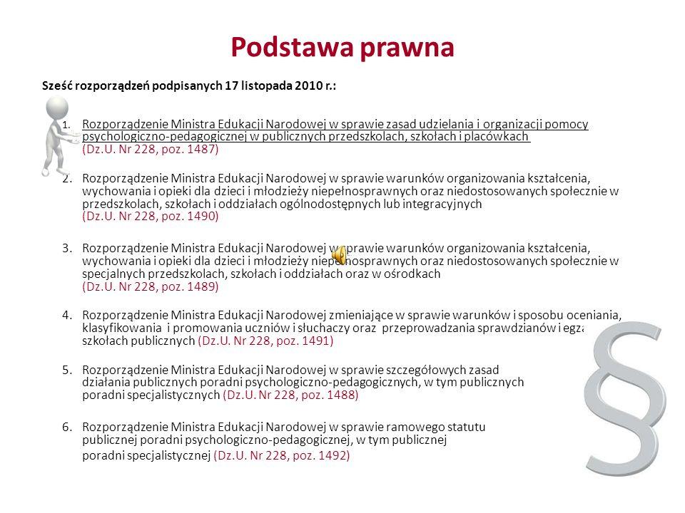 Podstawa prawna Sześć rozporządzeń podpisanych 17 listopada 2010 r.: