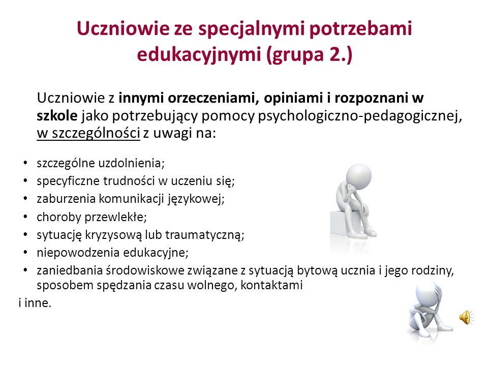 Uczniowie ze specjalnymi potrzebami edukacyjnymi (grupa 2.)