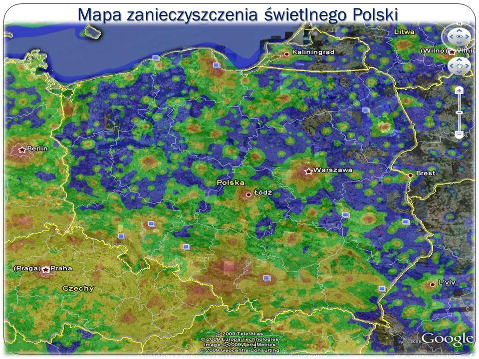 Mapa zanieczyszczenia świetlnego Polski
