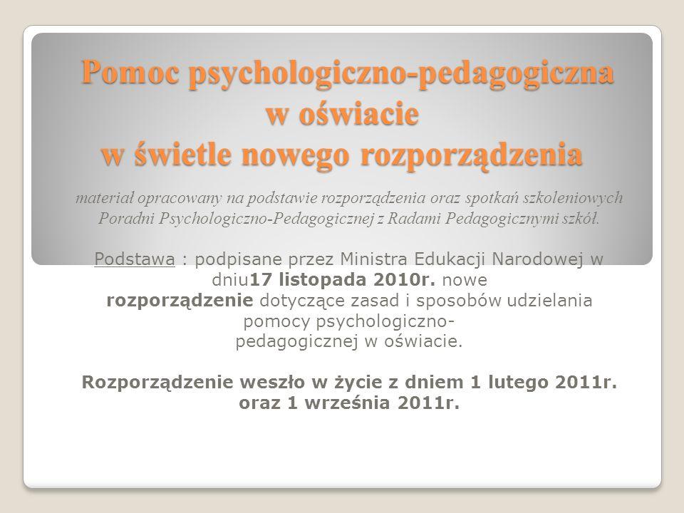 Pomoc psychologiczno-pedagogiczna w oświacie w świetle nowego rozporządzenia