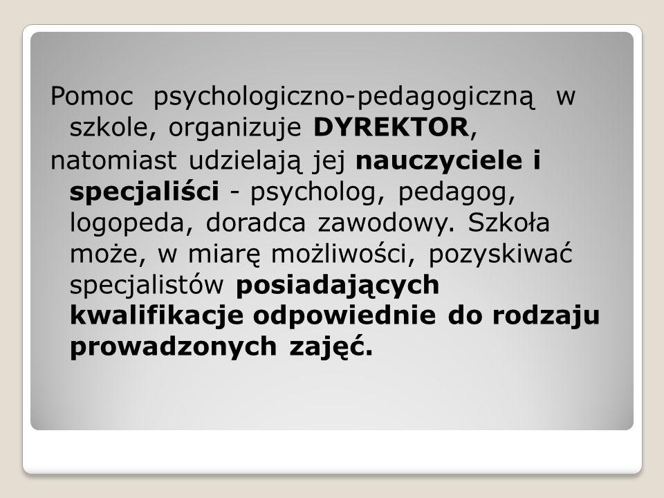 Pomoc psychologiczno-pedagogiczną w szkole, organizuje DYREKTOR,